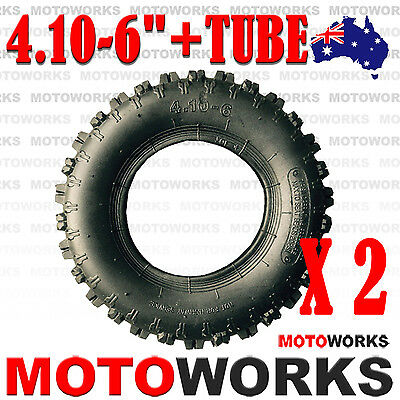 "2x 4.10 - 6"" inch Tyre Tire + Tube ATV QUAD Bike Gokart Scooter mini Buggy Mower"