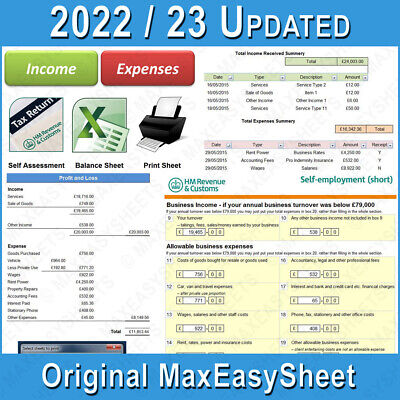 Bookkeeping Accounts Tax Spreadsheet Business Sole Trader Self Employed Excel