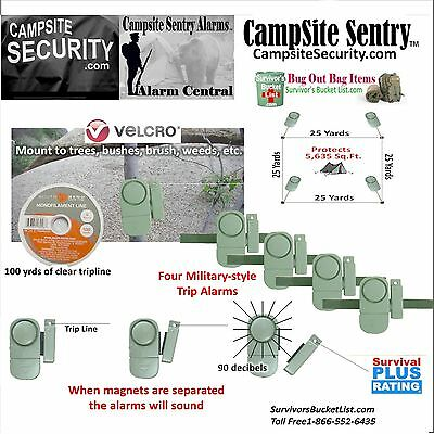 4-Camp Security Military Style Trip Alarms-100yds trip line covers 5,650sq.ft.