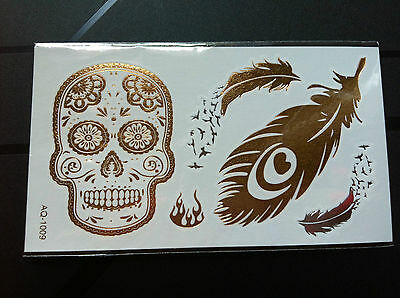 Fashion ♥♥ Tatouages Temporaires Tattoos Candy Skull Or / Argent ♥♥ Neuf Chic
