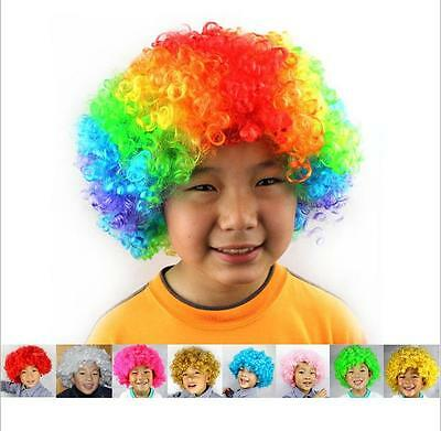 Newest Unisex Adult Kid Curly Clown Halloween Party Cosplay Funny 70s Disco Wigs