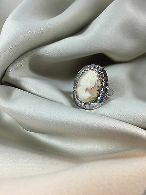 Cameo Genuine Hand Carved Shell set in Sterling Silver Ring -  size 8