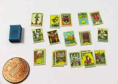 TAROT CARDS WITH BOX in 1:12 Scale Miniature For Dollhouse Roombox Or Diorama