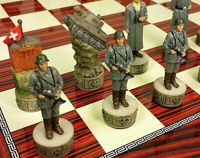 "WW2 US vs GERMANY CHESS SET W/ HIGH GLOSS CHERRY COLOR BOARD 17"" World War 2"