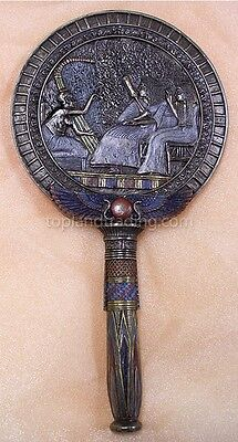 Egyptian Decor Hand Mirror Musician with Ancient Lyre Harp Egypt Accessory #1478