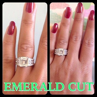 Brilliant Emerald Cut Real Solid Silver Finish Engagement Wedding Ring
