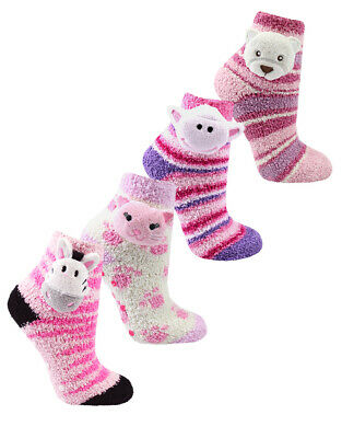 I.L.C.K Girls SuperSoft Socks Novelty Animal Heads Cosy Stripy With Grippers