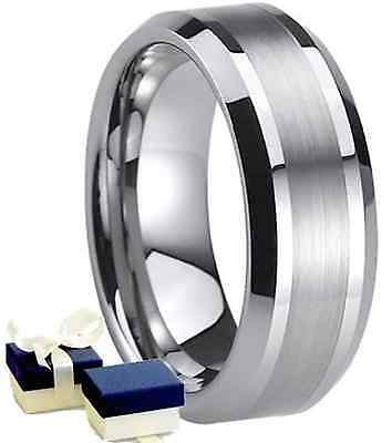 New Boxed 8mm Mens Titanium Wedding Engagement Comfort Fit Band Ring