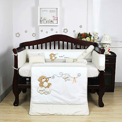 5 Pcs Beautiful Bear Design Baby Boy Girl Crib Cot Bedding Quilt Set KLF390