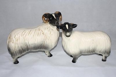 A Pair of Vintage Ceramic Sheep/Rams  Ornaments