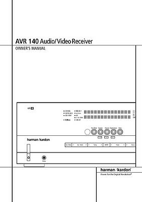 HARMAN KARDON AVR-140 AV Receiver Owners Manual