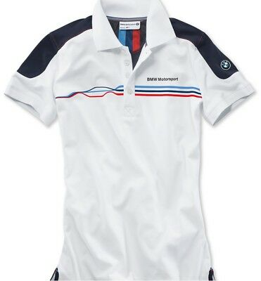 BMW Genuine Motorsport Ladies Womens Fan Polo Shirt White Short Sleeved Cotton