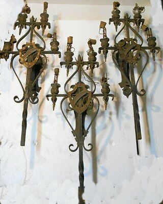 3Pc GOTHIC  Antique  HAND made Wrought  Iron/brass  wall Sconces