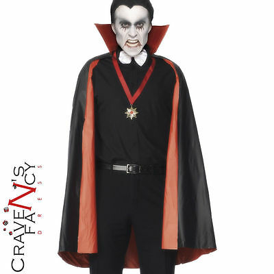 PVC Reversible Vampire Count Dracula Cape Black & Red Halloween Fancy Dress