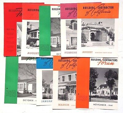 Vintage 1940's Lot Of 9 BUILDING CONTRACTORS FORUM Front Cover Of Magazine Ad