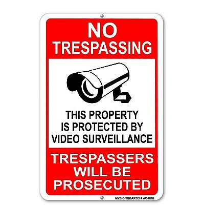Property Protected By Video Surveillance Warning Security Camera Sign Metal cctv