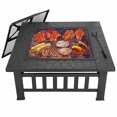 "Square Metal 32"" Fire Pit Outdoor Patio Garden Backyard Stove Firepit Brazier"