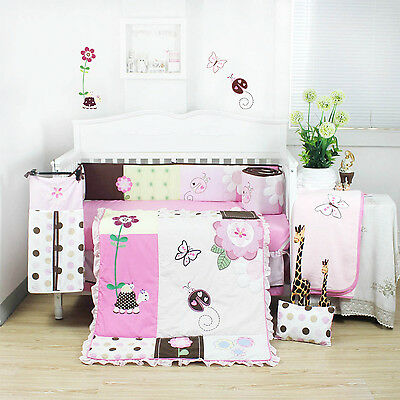 8 Pieces Beautiful Pink Flower Baby Girls Crib Cot Bedding Quilt Set KLF368