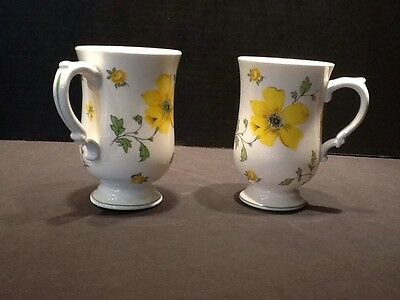 Royal Victorian 2 Tall Footed Cups Floral Bone China England