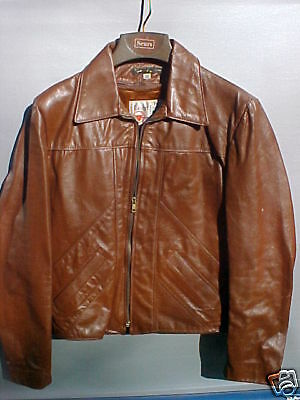 Vintage Mens Leather Biker Jacket - 70's/80's  - Sz 38