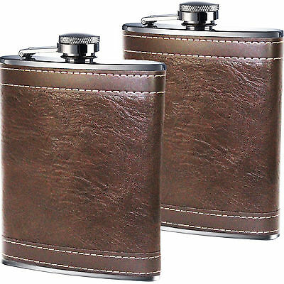 Set of 2 - 8oz Stainless Steel Brown Leather Design Hip Flask Excellent Quality