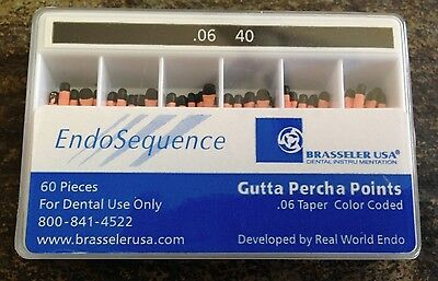 1 new pack of Brasseler Endosequence gutta percha points. Size 40 taper .06.