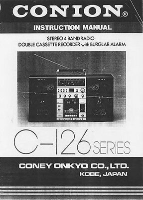 Onkyo CONION C126 Stereo Owners Manual