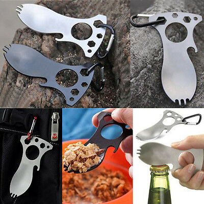 5 IN 1 Pocket EDC Screwdriver Bottle Opener Spoon Survival Kits Camping Gear r5