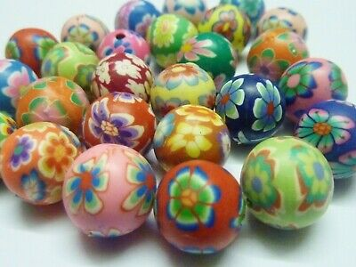 40 pce Handmade Polymer Clay Round Beads about 12mm Jewellery Making Craft