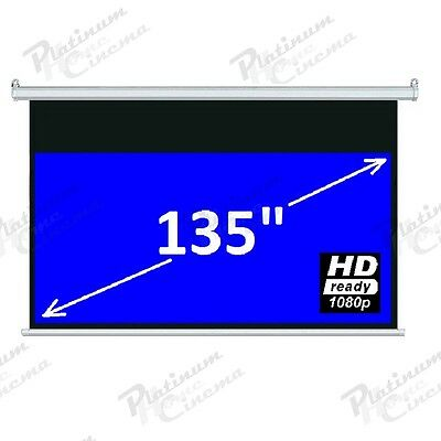 "New 135"" Electric HD Projection Screen projector home cinema 16:9 Matt White"
