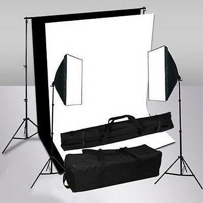 1250W Studio Soft Box Softbox Kit negro fondo blanco fondo apoyo de iluminación