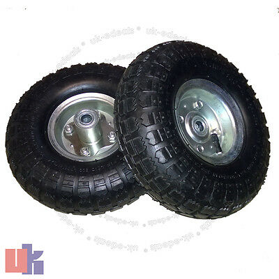 "2X 10""Inch Pneumatic Truck Trolley  Sack Replacement Wheel Barrow Tyres Garden"