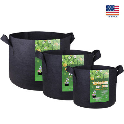 VIVOSUN 5 Packs Fabric Plant Pots Grow Bags w/ Handles 3,5,7,10,15,20,30 Gallon