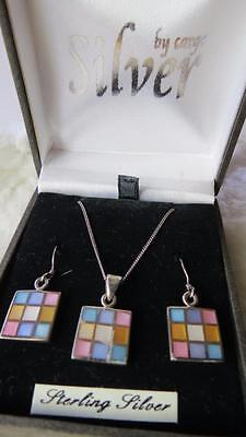 CARGO Sterling 925 Silver Pastel Mother Of Pearl Squares Necklace & Earrings