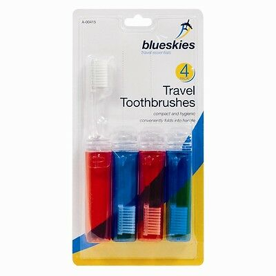 New Pack Of 4 Travel Fold-Up Toothbrushes Family Holidays/ Weekends Away