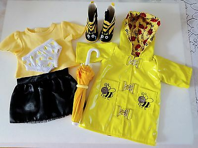 """NEW-Doll Clothes-Lot #156 Rain Coat/Umbrella/Boots fit 18"""" Doll such as AG Doll"""