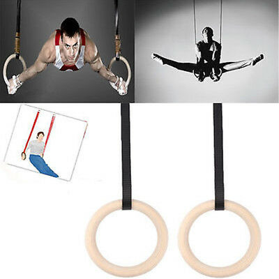 Olympic Exercise Wooden Gymnastic Rings Crossfit Gym Workout Strength Training