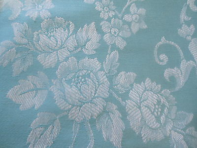 Antique French Blue Roses Scroll Ticking Fabric ~ Pillows Upholstery Windows