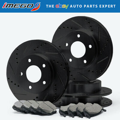 Front+Rear | BLACK Slotted Drilled Rotors & Ceramic Pads Civic Acura Integra