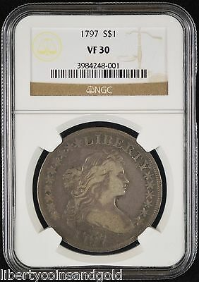 1797 Draped Bust Dollar NGC VF 30 10x6 Stars