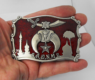 Vintage 1981 Shriner Freemasonry Masonic AAONMS Red Enamel Mason Belt Buckle