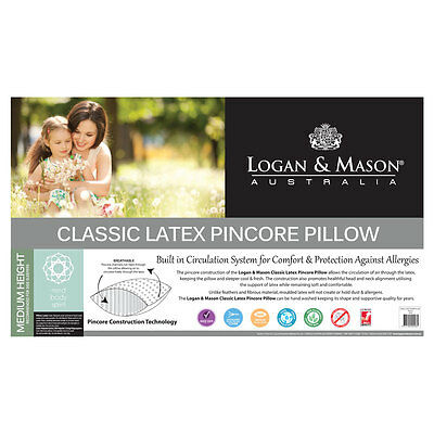 Logan and Mason Classic Latex Pincore Pillow Non Allergenic Medium Height
