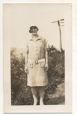 RPPC Young Woman or Girl in Dress Posing Outdoors Real Photo Vintage Postcard