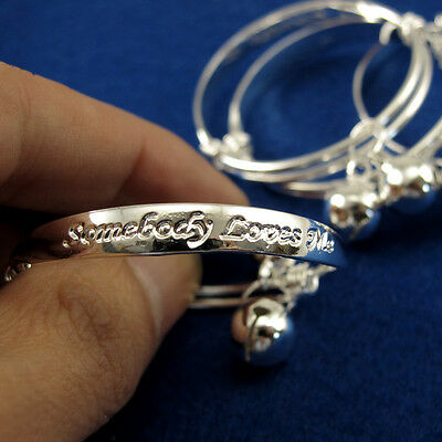 Retractable Baby Bangle Silver New Baby Infant Bracelets With Bell