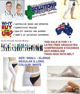 Anti Embolism Graduated Compression Stockings With Waist Belt Latex Free S-Xl