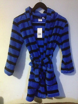MILKY BOYS PLUSH DRESSING GOWN BLUE STRIPEY SZ 3 BNWT GREAT FOR WINTER (a66)
