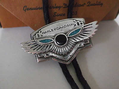 Harley-Davidson Silver 1994 Turquoise inlay bolo tie men's 99073-95Z