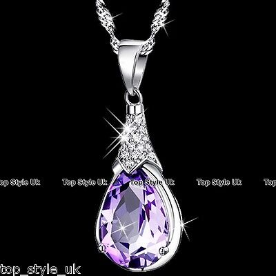 Sterling Silver Necklace Purple Amethyst Crystal Teardrop Pendant Gift for Mum