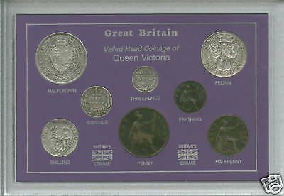 1893-1901 Queen Victoria Old Head Type British GB Coin Gift Set in Display Case