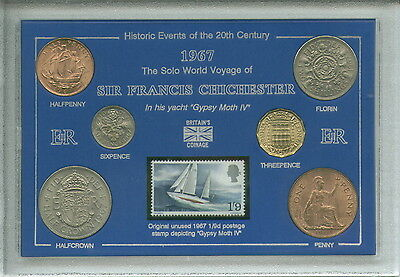 Sir Francis Chichester Gypsy Moth Coin & Stamp Gift Set 1967 (50th Anniversary)